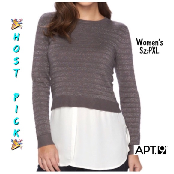 379375b727 Apt.9 Sweater Shirt Gray Sz PXL NWT F8 NWT